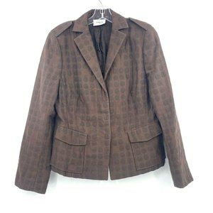 Akris Punto US 10 Blazer Jacket Brown Polka Dot